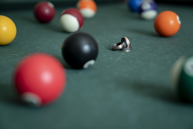 Pool balls scattered on the table