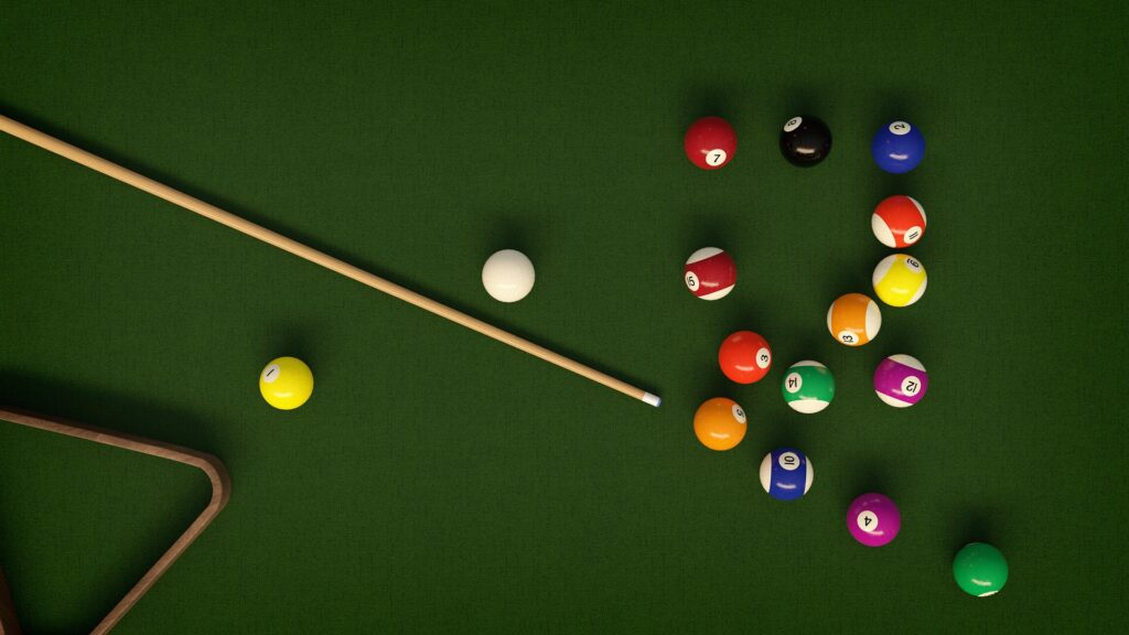 Pool balls scattered in a table