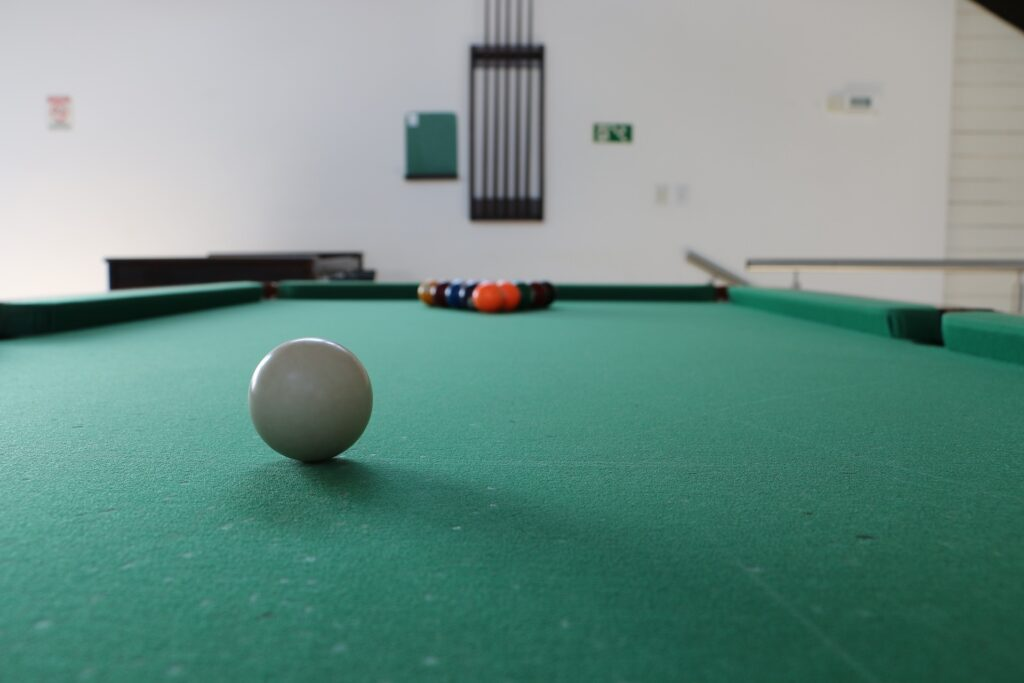 Close up of a cue ball