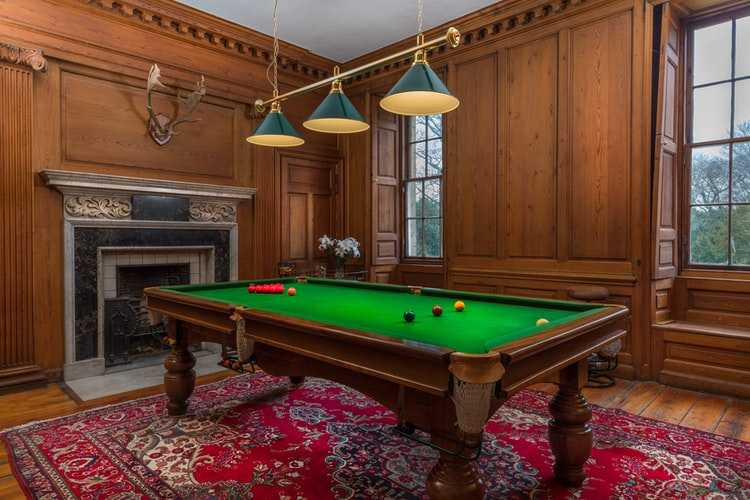 Personal pool table in a house