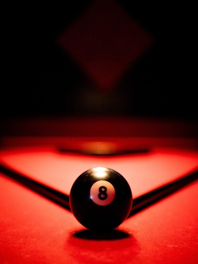 Lone billiard ball on the table