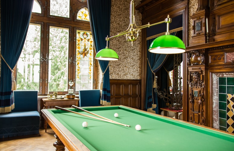 Cue sticks on a pool table