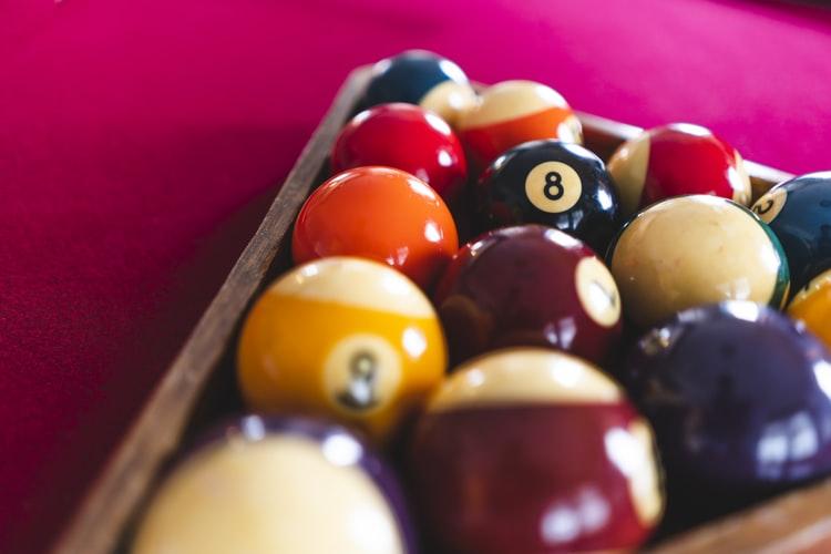 Cue balls on a pool rack